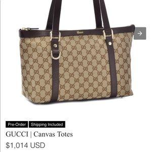 Gucci tote monogram brown GG purse authentic